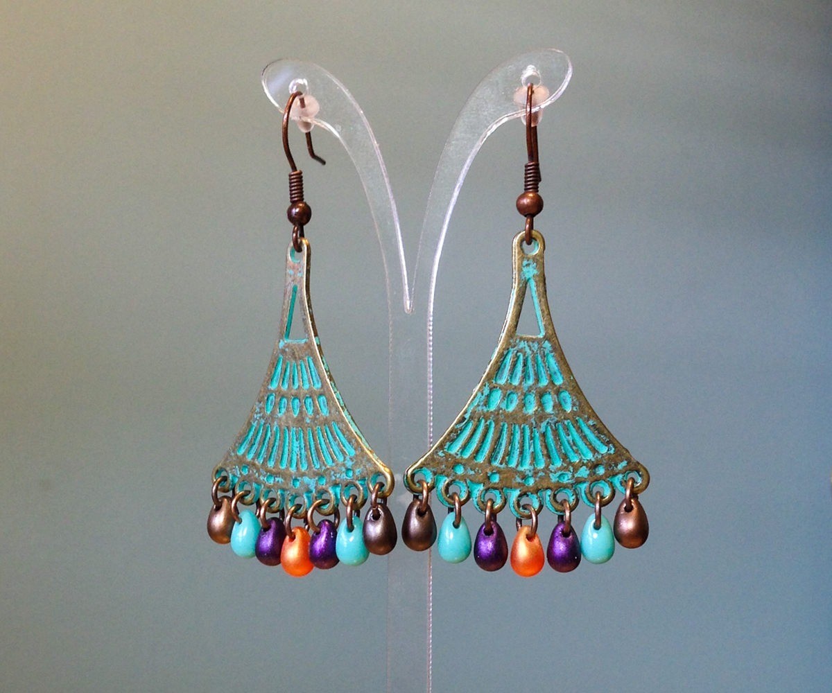 Patina Greek Copper Earrings