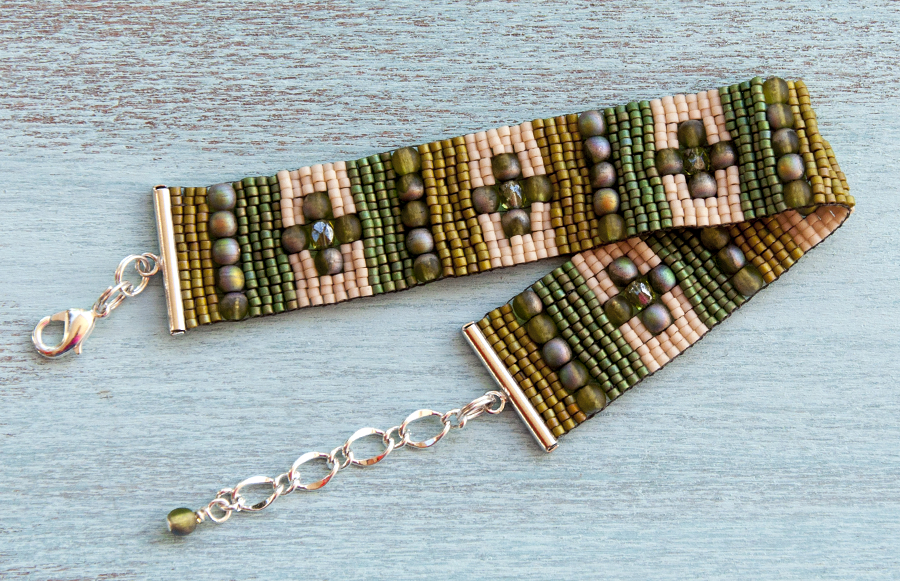 Green and white loomed bracelet