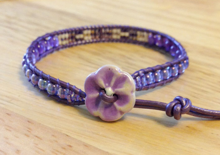 Purple single wrap bracelet