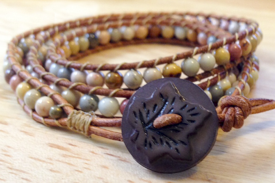 Mexican sky eye jasper triple wrap bracelet