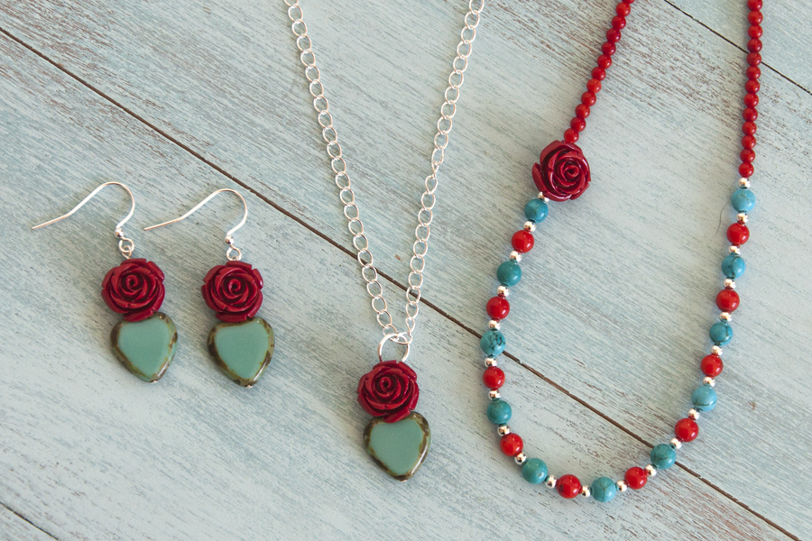 Sweetheart Flores - Earrings and Necklaces