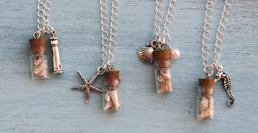 Charm necklaces with bottles