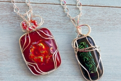 Wire-wrapped fused glass pendants