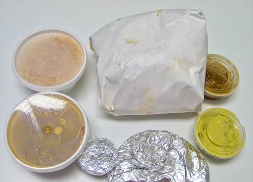 Pollo Rico meal, wrapped in foil