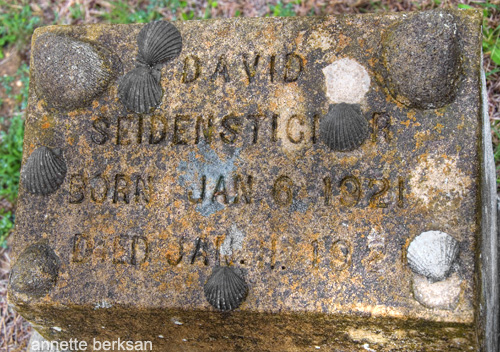 Seashells decorate this headstone in the Germany community of Comfort, Texas.