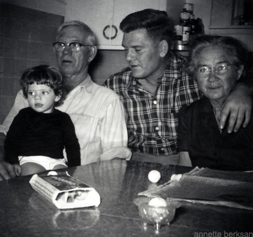 "Sitting in my grandparents' kitchen in Cartersville, Georgia: my grandfather ""Daddy Bud"", my dad Carl and Lula ""Granny"" Armstrong."