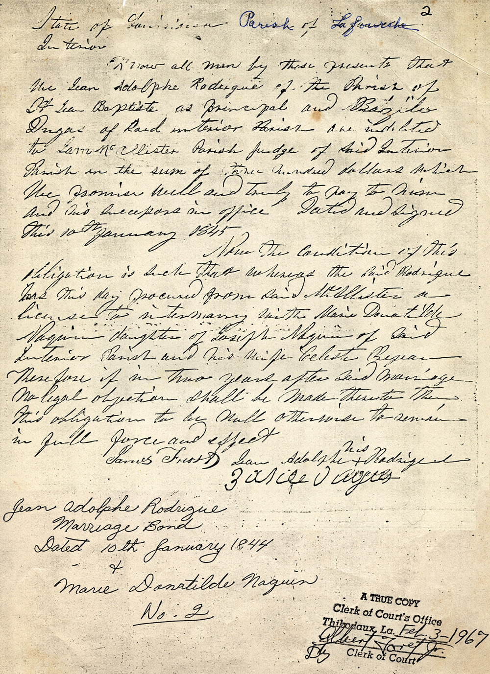 1844 Marriage Bond – Jean Adolphe Rodrigue and Marie Donatile Naquin.