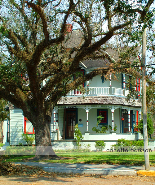 Blue Victorian house with large oak tree in yard