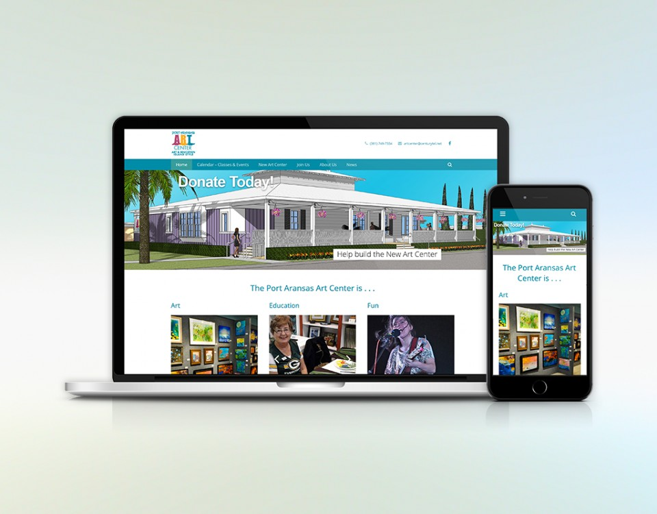 Laptop and smart phone with image of Art Center home page.