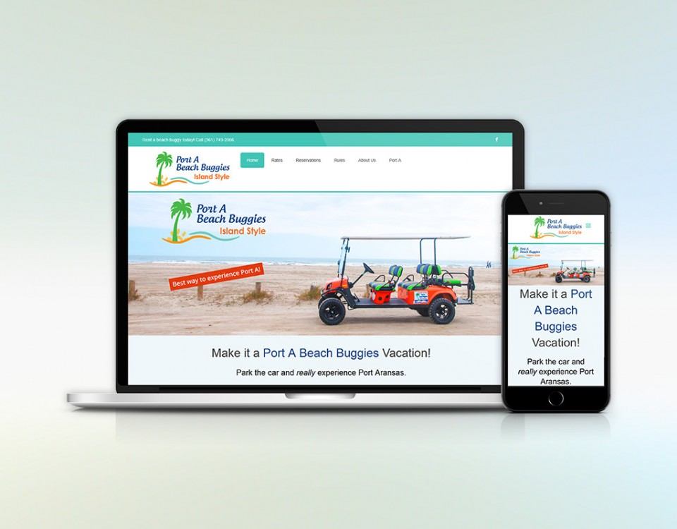 Laptop and smart phone with image of Port A Beach Buggies home page.