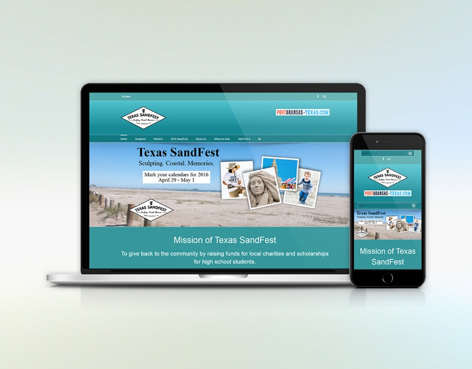 Laptop and smart phone with image of Texas SandFest home page.