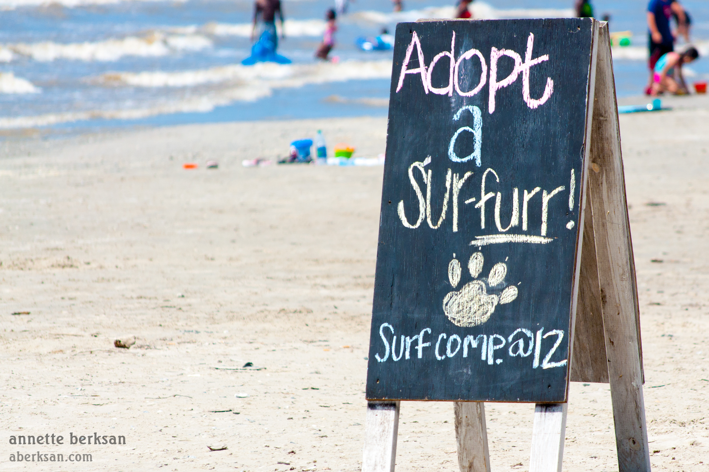 "Sign on the beach that reads ""Adopt a Sur-FURR"""