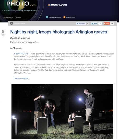Follow Friday – Night by night, troops photograph Arlington graves